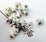 Star Beads, 6mm Antique Silver (20)