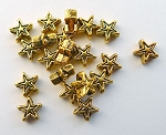 Gold Star Beads, 6mm Antique Gold Pewter Star Beads, Bulk (20)