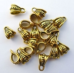 Fancy Dotted Jewelry Bails, Antique Gold Finish (20)