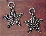 Silver Pebble Star Pendant, Double-Sided Pewter Star Pendants (1)