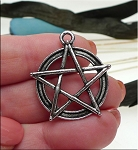 Pentacle Pendant, Antiqued Silver Pentagram Necklace, 28mm Wiccan Jewelry