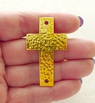 Cross Bracelet Centerpieces, Cross Jewelry Connector Gold Finish (1)