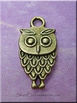 Antique Brass Pewter Owl Charm, Double-sided Owl Charm, 18x9mm