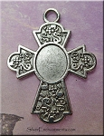 Cross Bezel Pendants, Ornate Memorial Cross Pendants for Mixed Media, Bulk (10)