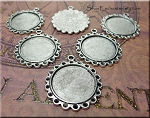 Scallop Bezel Pendants for Glue in and Glaze Projects Bulk (6)