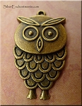 Owl Pendants, Antique Brass Bulk (6)