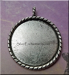 Tibetan Silver Bezel Pendant, Round Bezel for Glue in and Glaze Projects, Rope-edge
