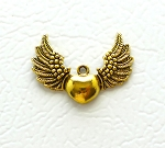 Winged Heart Pendant, Angel Wing Heart Pendant, Antique Gold Finish