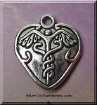 Medical Symbol Pendant Charm Caduceus Heart Charm