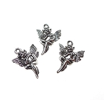 Silver Fairy Charms, Antique Silver Pewter Elf Charms, Bulk (10)