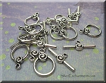 Toggle Clasps with Spiral Accent Bulk (10)