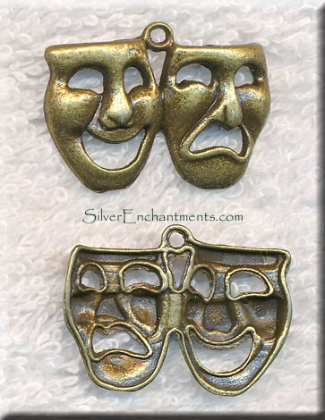 Brass Comedy Tragedy Pendant Theatre Mask Jewelry