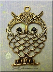 Large Owl Pendant with Black Crystal Eyes, Antique Gold Finish