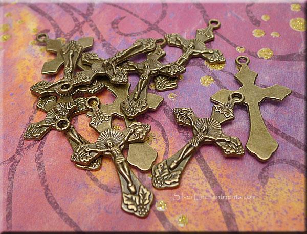 Brass crucifix pendants antique brass ornate catholic cross brass crucifix pendants antique brass ornate catholic cross pendants bulk 10 aloadofball Choice Image