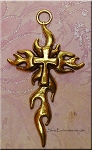 Pewter Large Flaming Cross Pendant, Antique Gold Finish