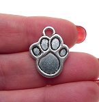 Paw Charm 23x17mm Antique Silver Animal Paw Charm