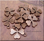 Copper Four-Leaf Clover Charms, Antique Copper Pewter Shamrock Charms, Bulk (10)
