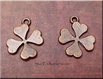 4-Leaf Clover Charm, Antique Copper
