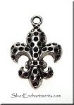 Dimpled Fleur-de-Lis Charm, 25x17mm New Orleans Lily Jewelry