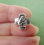 SOLDOUT - Cross Bead with Holy Family, 13mm with 3mm Hole, Christian Jewelry Supply (1)