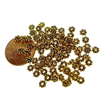 Gold 4mm Daisy Spacers, Antiqued Gold Pewter Daisy Jewelry Spacer Beads, Bulk 100-pieces