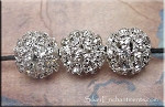 Silver Plated Crystal Studded Crystal Ball Bead, 13mm