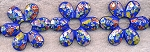 Blue Flower Beads, 45x40mm Captive Beads Strand - CLEARANCE