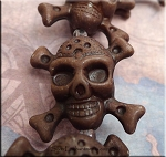 3D Skull Beads, Brown Jolly Roger Skull Beads, Pirate Pendant Bead (1)
