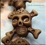 3D Skull and Cross-Bones Beads, Jolly Roger Skull Beads, Ash Brown Pirate Pendant Bead (1)