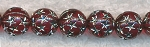 10mm Round Dark Red with Silver Stars Acrylic Beads