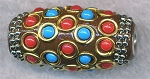 Tibetan Bead, Large Hole Kashmiri Bead, 34x16mm Barrel Bead, Brown - CLEARANCE