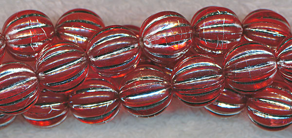 12mm Red w Silver Acrylic Melon Beads