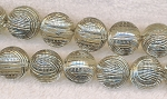 16mm Round Beads, Silver Weave Pattern Acrylic Beads