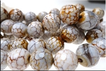 Fire Agate Beads, 16mm Faceted Round Gemstone Beads, Full Strand