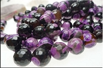Fire Agate Beads, 14mm Round Beads, Purple and Black