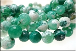 8mm Round Fire Agate Beads, Sea Green Emerald Strand