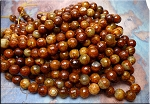 Fire Agate Beads, Browns Rust, 12mm Round Faceted, Strand
