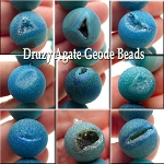 14mm Druzy Agate Geode Beads, Matte Blue Druzy Beads (3)