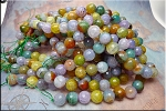 12mm Faceted Round Crackle Fire Agate Beads, Multicolor Strand