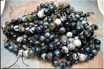 12mm Faceted Round Fire Agate Beads, Sodalite Blue