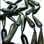 Black-Green Fire Agate Faceted Teardrop Beads, 30x10mm (2)
