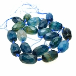 Blue Faceted Designer Agate Beads avg 29x17mm Jewelry Focal Beads Strand