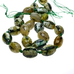 Green Faceted Designer Fire Agate Beads avg 25x20mm Strand