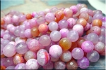 Fire Agate Beads, 10mm Round Designer Pink Beads Strand