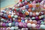 Fire Agate Beads, 6mm Round Designer Mixed Color Strand
