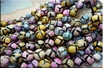 8mm Faceted Round Multicolor Giraffe Fire Agate Beads Strand