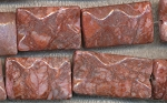Fancy Red Jasper Beads, Waffle Rectangle Beads - CLEARANCE