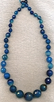 Agate Beads, Graduated Faceted Round Blue Agate Beads 8mm to 20mm Strand
