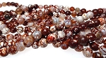 8mm Faceted Round Brown Fire Agate Beads, Full Strand