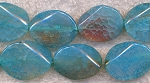 Blue Fire Agate Beads, 20x15mm Oval Gemstone Beads, Full Strand